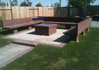 Brick firepit and benches