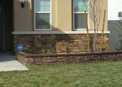 raised planter, stone and cap mason work